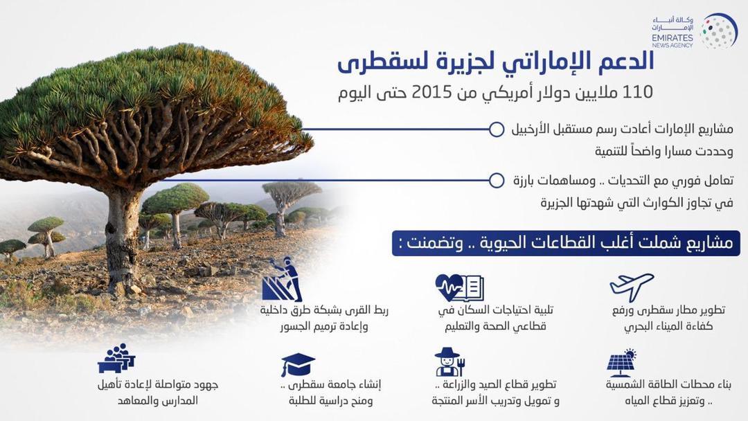 تعرف على دعم الامارات لجزيرة سقطرى منذ العام 2015